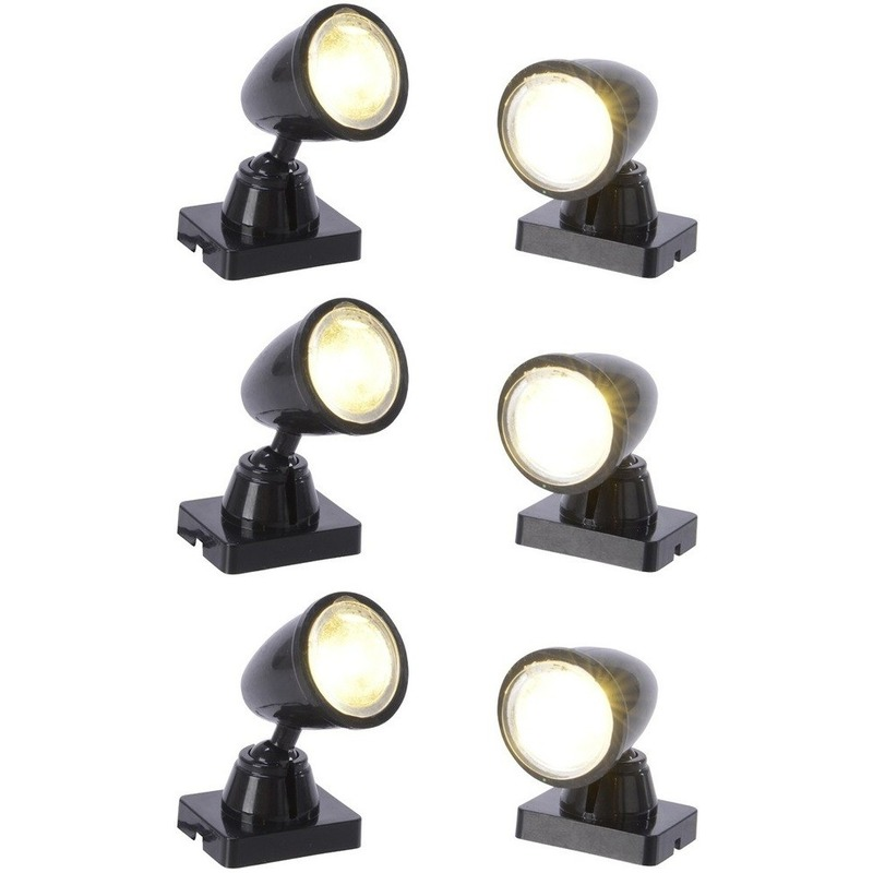 Kerstdorp accessoires LED spot lampen 6 stuks