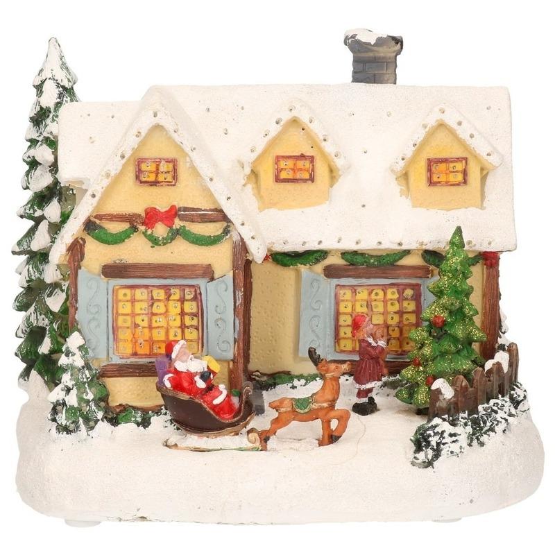Kerstdorp maken kersthuisjes Kerstman 19 cm met LED lampjes