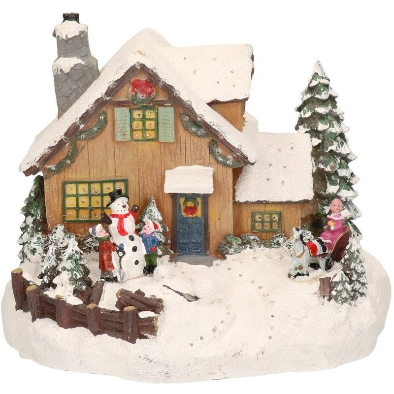 Kerstdorp maken kersthuisjes sneeuwman 19 cm met LED lampjes