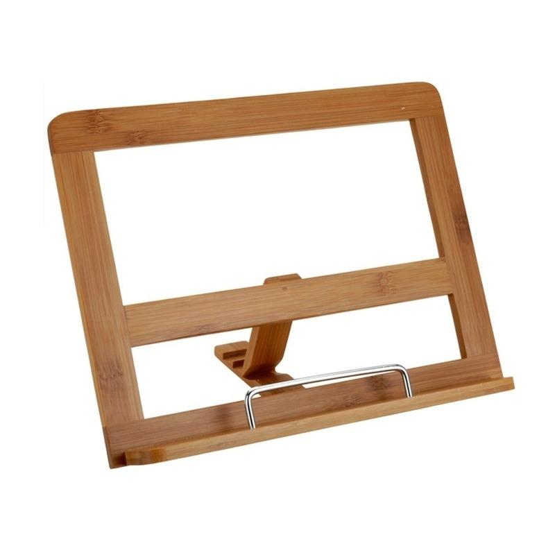 Kookboekstandaard-tablethouder van bamboe hout 32 cm