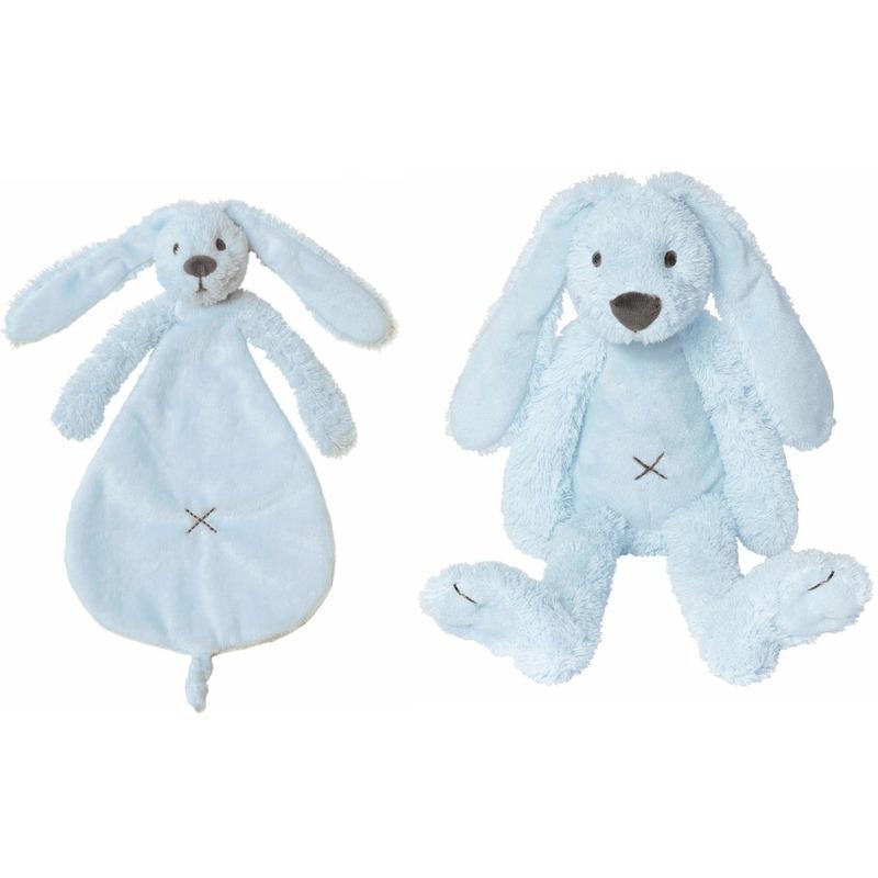 Kraamcadeau Rabbit Ritchie licht blauw Happy Horse knuffeldoekje en knuffel konijntje