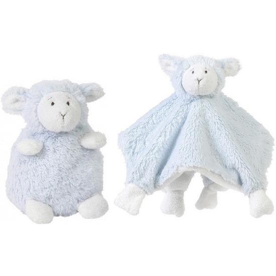 Kraamcadeau schaapjes-lammetjes ivoor blauw Happy Horse knuffeldoekje en zittende knuffel