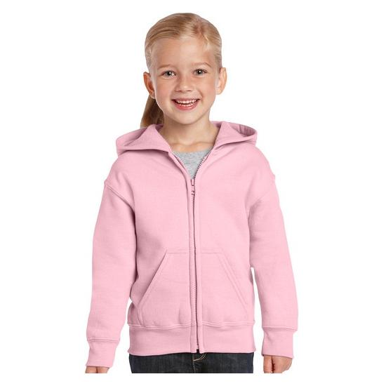 Lichtroze sweater met rits voor meisjes
