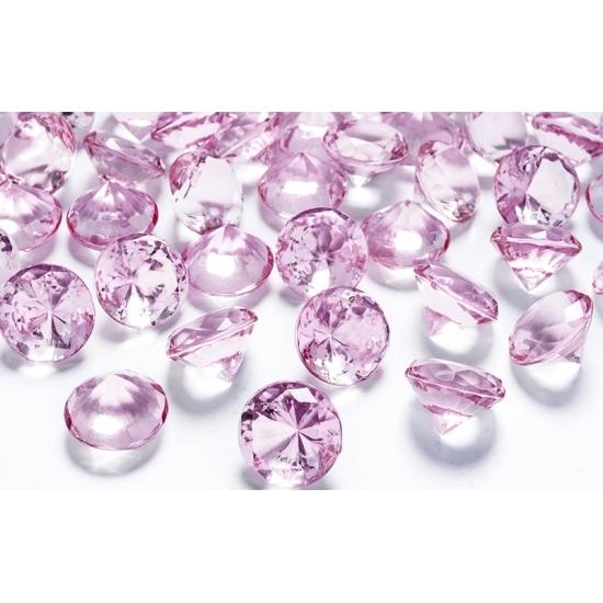 Lichtroze trouwdecoratie diamantjes