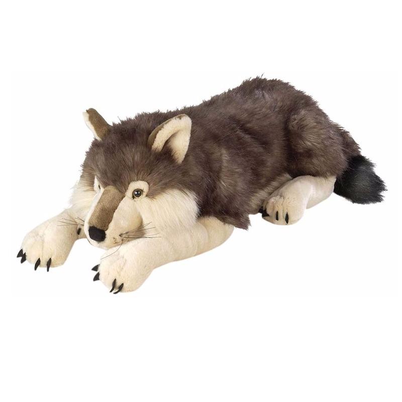 Liggende pluche wolf knuffel 76 cm