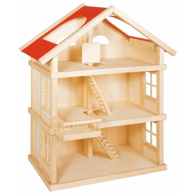 Luxe houten poppenhuis met 3 etages