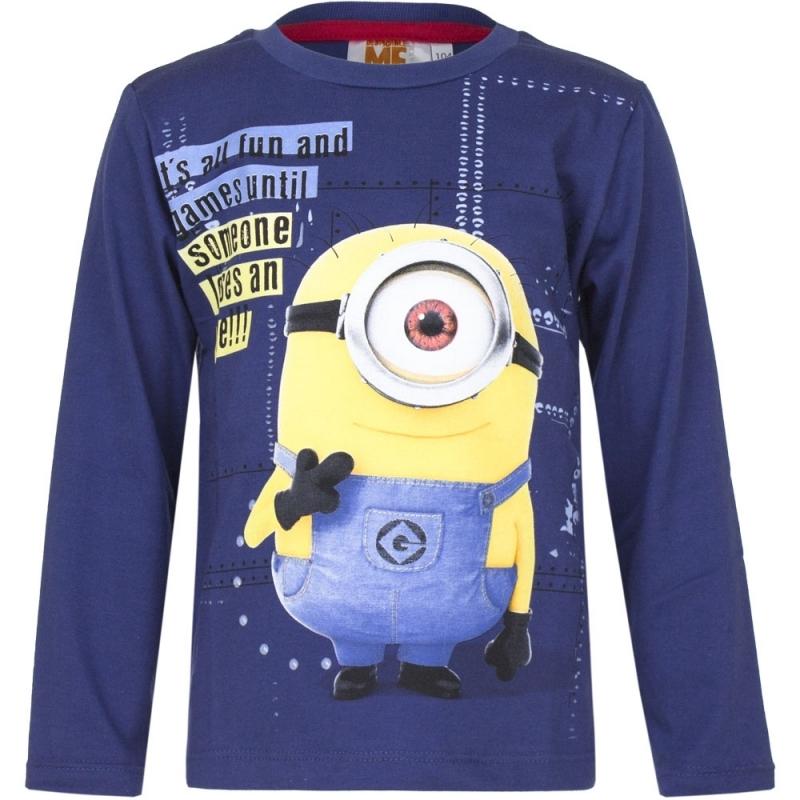 Minions shirt lange mouw blauw voor jongens