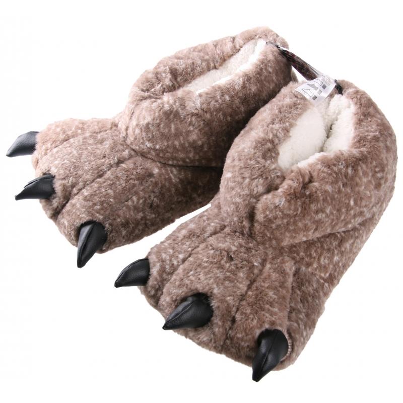 Monsterpoot pantoffels volwassenen beige in maat 41/42