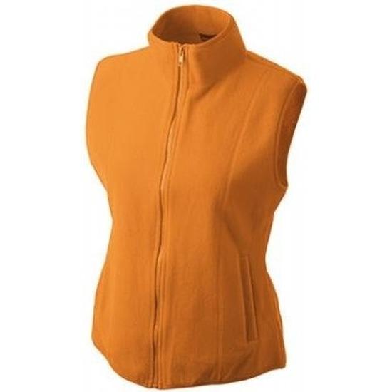 Mouwloze fleece sport vesten oranje voor dames