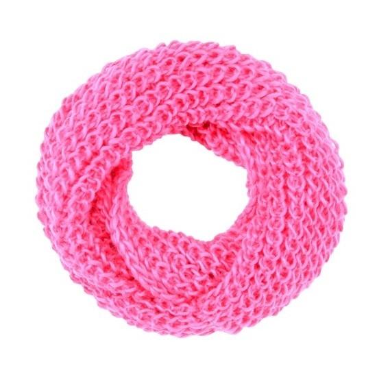 Neon roze gebreide ronde col sjaal voor volwassenen