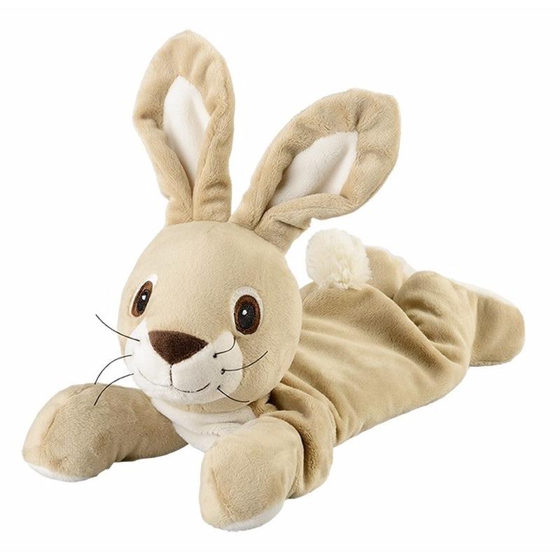 Opwarmbare knuffel liggende konijn beige
