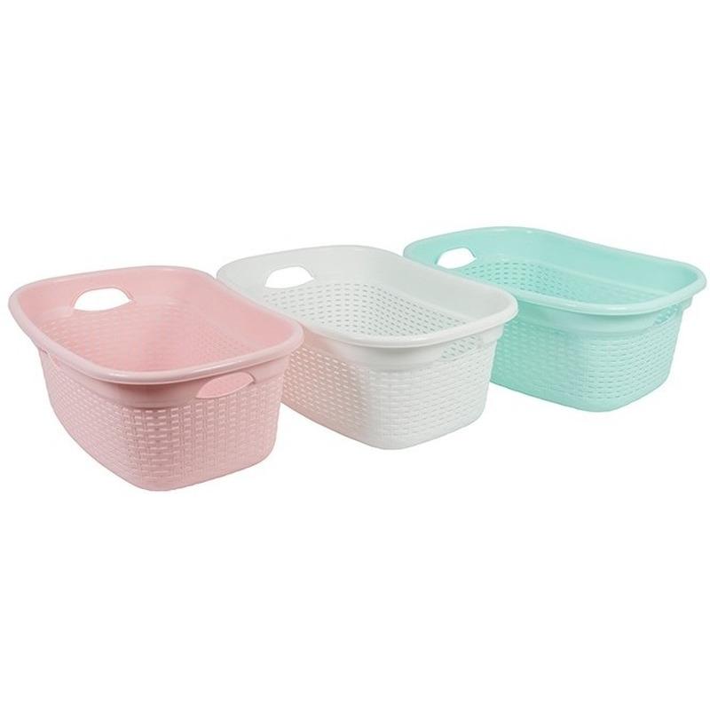 Pastel roze gevlochten kunststof wasgoed mand 45 liter