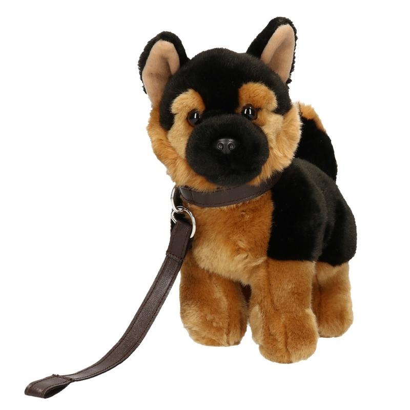 Pluche Duitse Herder puppy-hondje knuffel aan lijn 25 cm