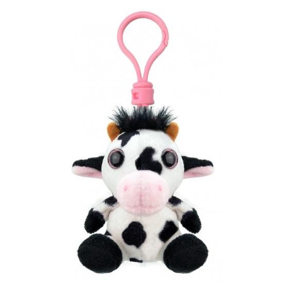 Pluche knuffel koe sleutelhanger 9 cm