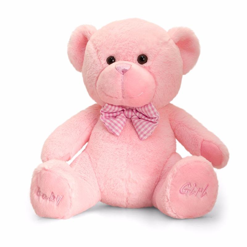 Pluche knuffelbeer roze baby girl 25 cm