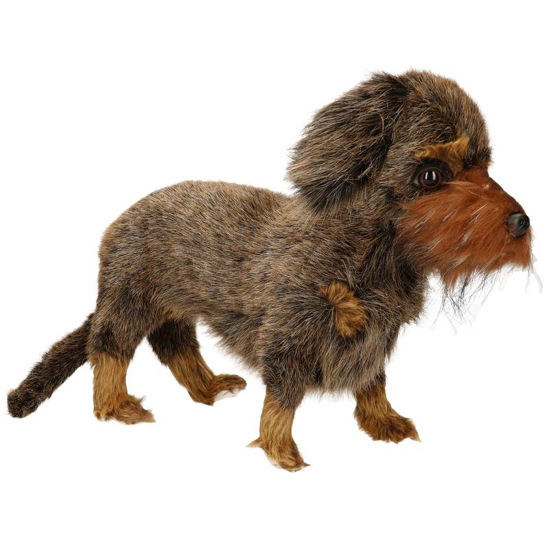 Pluche teckeltje knuffeldier hondje 23 cm
