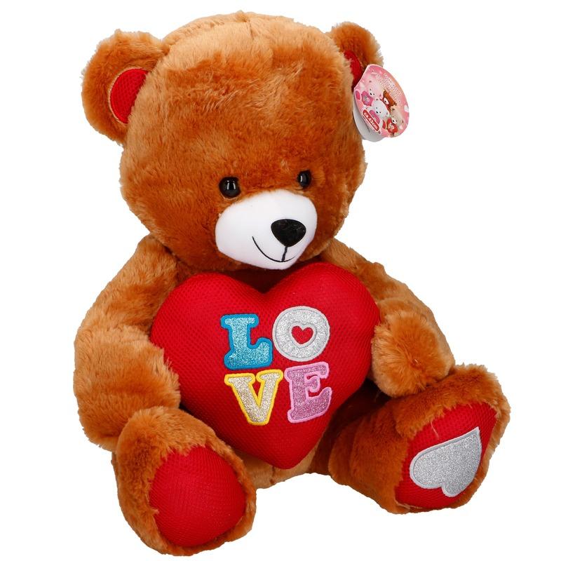 Pluche Valentijnsdag beer knuffeldier met hart bruin 43 cm