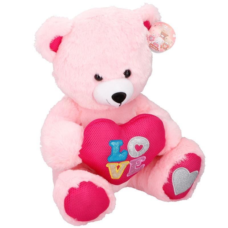 Pluche Valentijnsdag beer knuffeldier met hart roze 43 cm