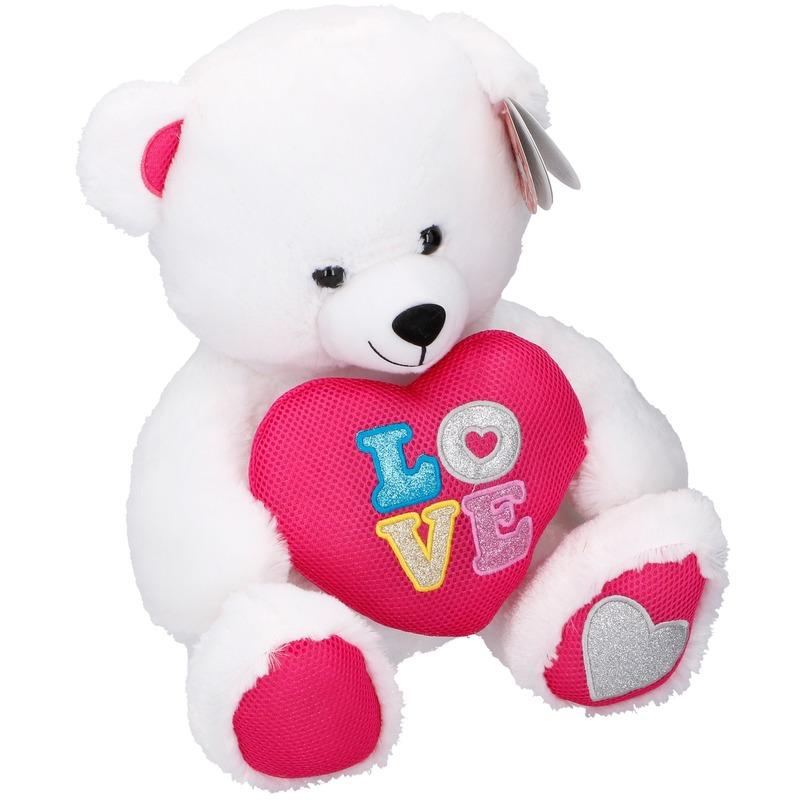Pluche Valentijnsdag beer knuffeldier met hart wit 43 cm