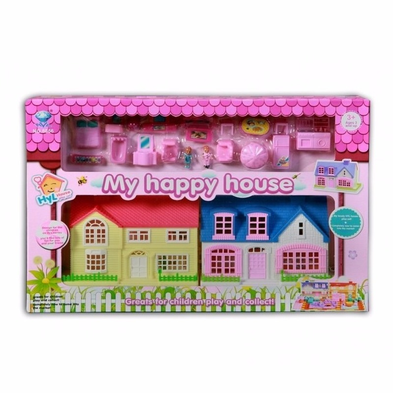 Poppen speelhuisjes met accessoires