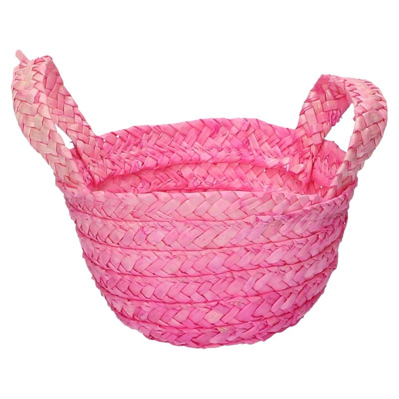 Rieten mandje roze 15 x 10 cm met hengsels