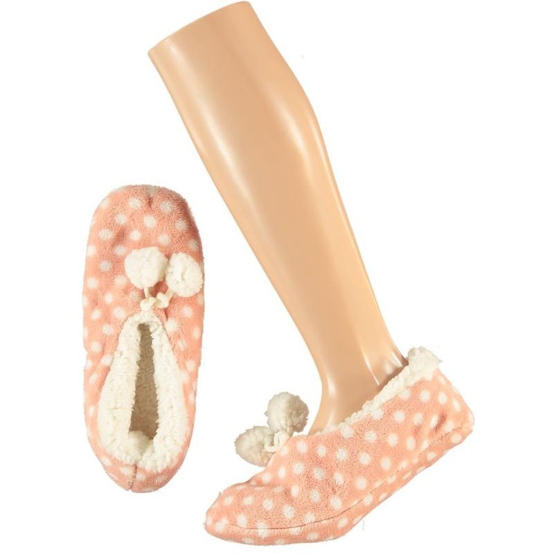 Roze ballerina dames pantoffels/sloffen met stippenprint maat 37-39