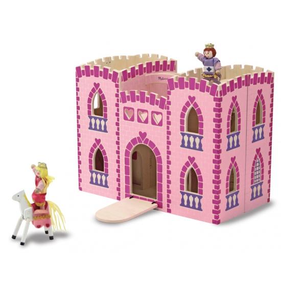Roze houten kastelen met accessoires