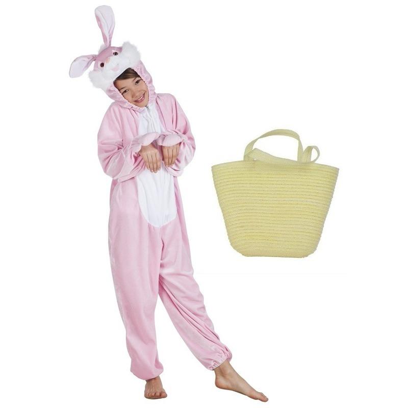Roze paashazen kostuum maat 140 met mandje voor kids