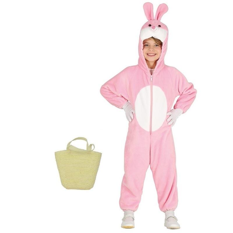 Roze paashazen kostuum met mandje voor kinderen 3-4 jr