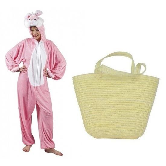Roze paashazen kostuum met mandje voor vrouwen