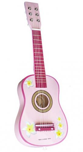 Roze speelgoed gitaar
