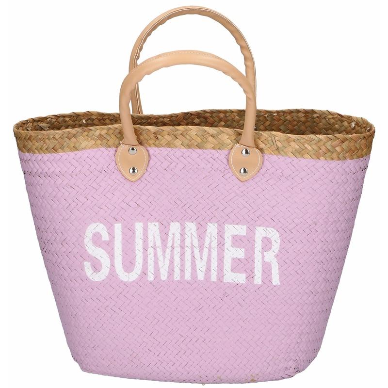Shopper strandtas roze 5 liter