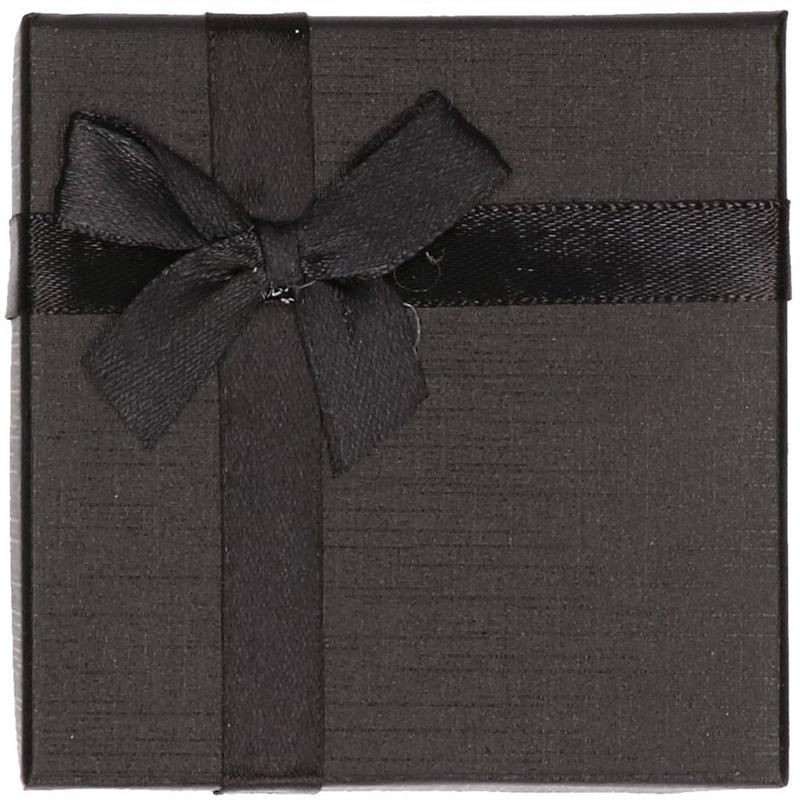 Sieradendoosje zwart met strik 9 x 9 cm.