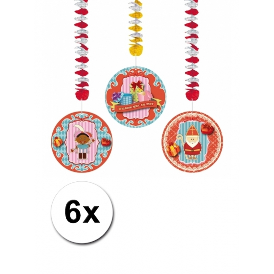 Sinterklaas decoratie rotorspiralen 6 stuks