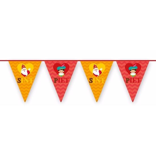 Sinterklaas decoratie vlaggen slinger rood-oranje