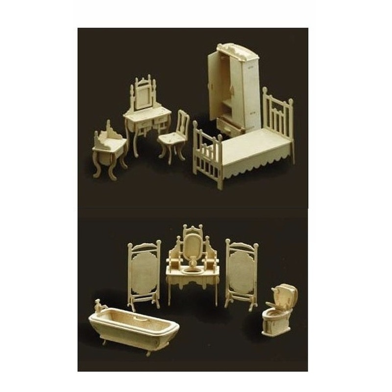 Slaapkamer en badkamer meubel set poppenhuis