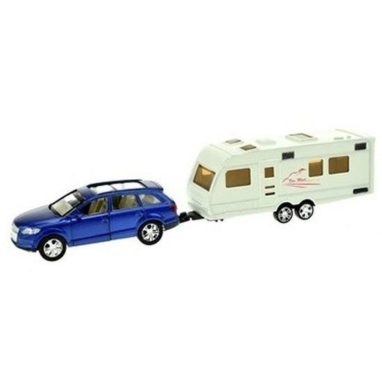 Speelgoed auto met caravan blauw voor jongens