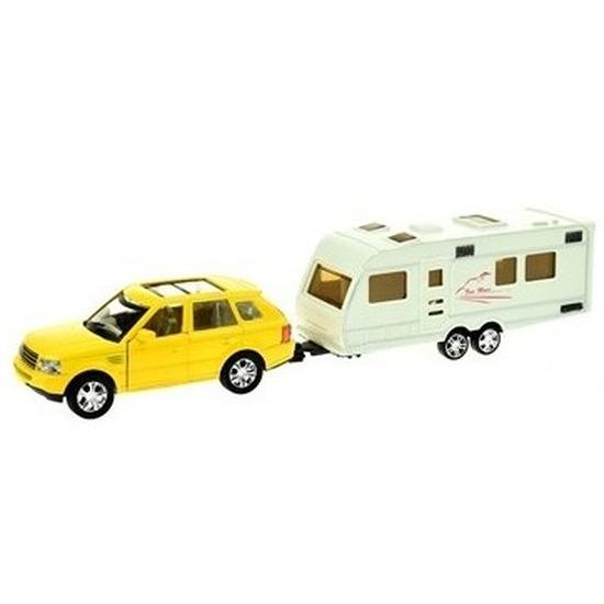 Speelgoed auto met caravan geel voor jongens