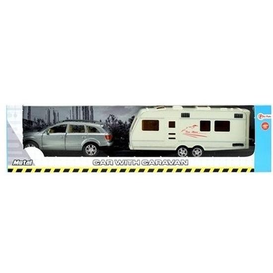 Speelgoed auto met caravan grijs voor jongens