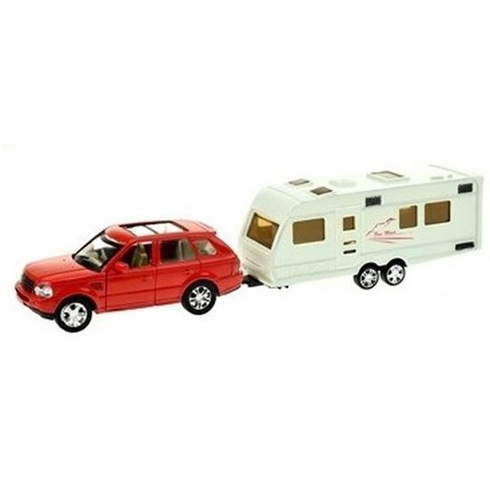 Speelgoed auto met caravan rood voor jongens