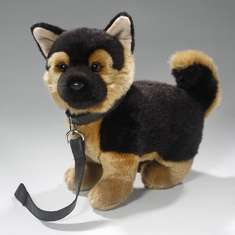 Speelgoed Duitse Herder puppy-hondje knuffel aan lijn 25 cm
