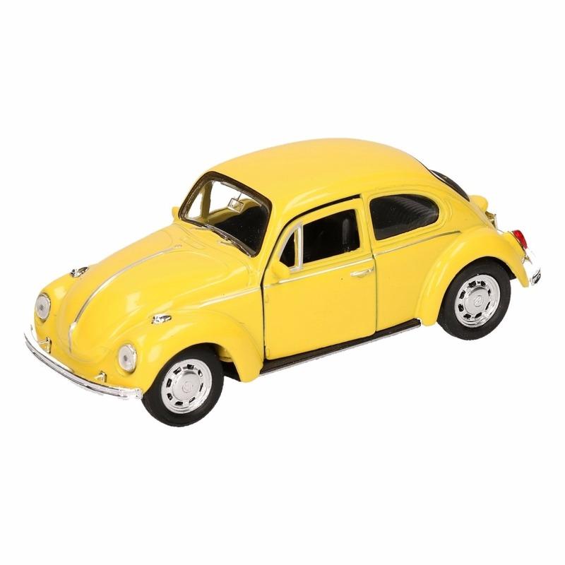 Speelgoed Volkswagen Kever classic geel Welly autootje 14,5 cm