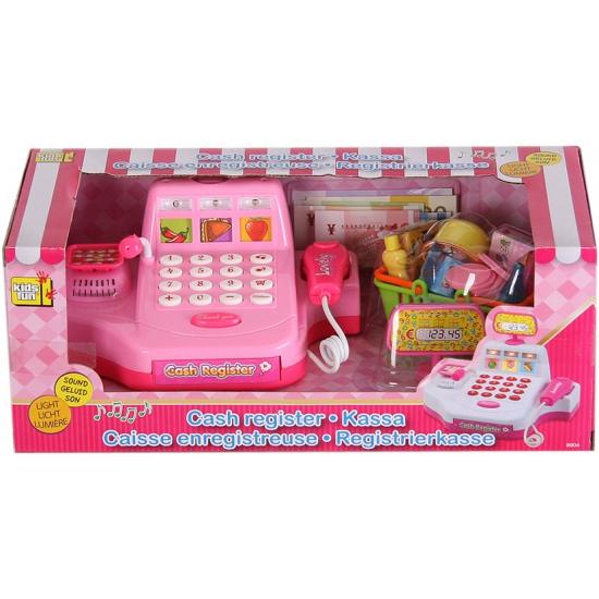 Speelgoed winkeltje kassa roze met boodschappen