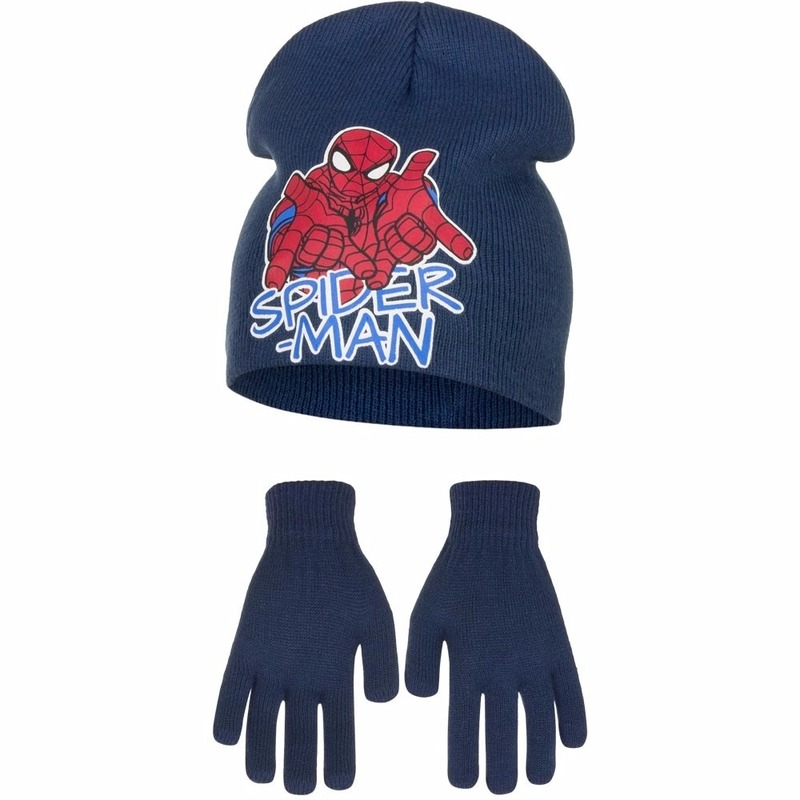 Spiderman blauwe muts en handschoenen voor jongens