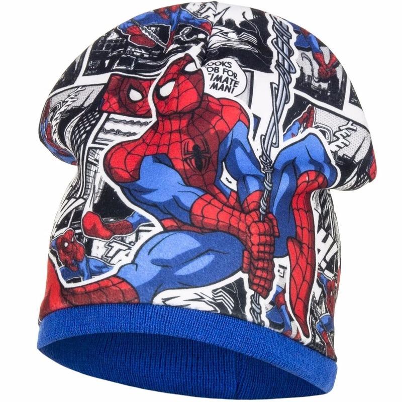 Spiderman blauwe wintermuts van fleece voor jongens