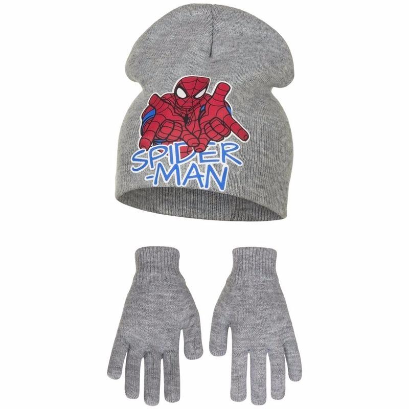 Spiderman grijze muts en handschoenen voor jongens