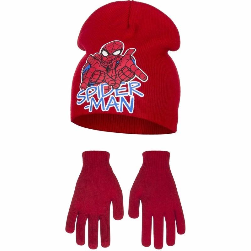 Spiderman rode muts en handschoenen voor jongens
