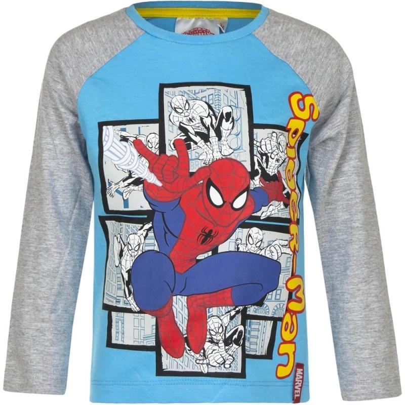Spiderman shirt lange mouw blauw/grijs voor jongens