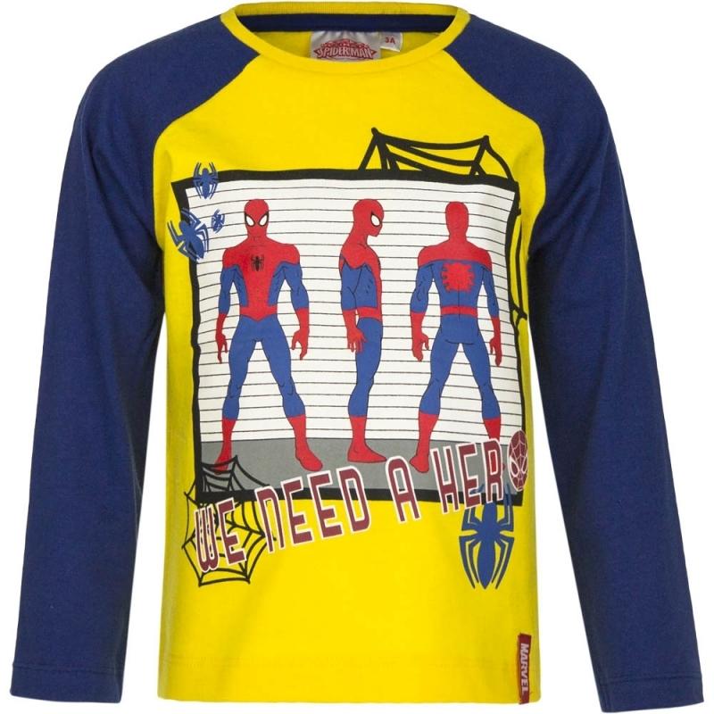 Spiderman shirt lange mouw geel/blauw voor jongens