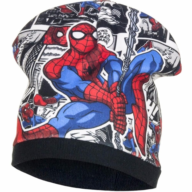 Spiderman zwarte wintermuts van fleece voor jongens